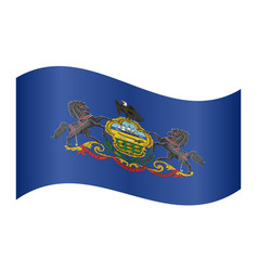 flag of pennsylvania waving on white background vector image vector image