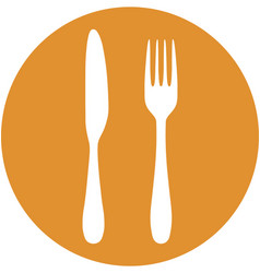 Fork and knife in circle icon vector