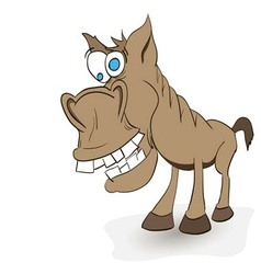fun crazy horse with protruding teeth and hoof vector image vector image
