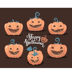 Halloween of collection decorative orange pu vector