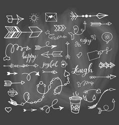 Hand drawn sketch set on chalk background vector