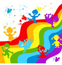 Hand drown children silhouettes in rainbow colors vector image