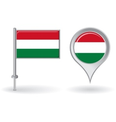 Hungarian pin icon and map pointer flag vector