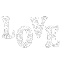 Love inscription coloring anti vector image vector image