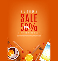 Orange flyer for autumn sale vector