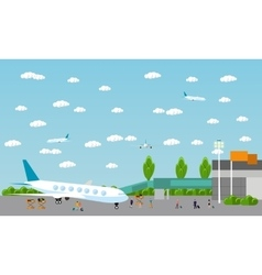 People in airport flat set vector image vector image