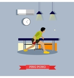 Ping-pong player trains in the club flat design vector