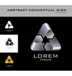 Recycling sign logo design template black white vector