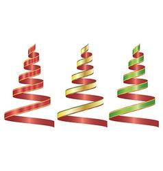 Ribbon set three color vector