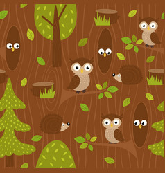 Seamless pattern owl and hedgehog in forest vector
