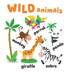 Set of funny animals vector image vector image