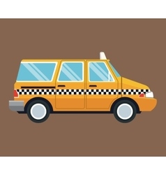 Taxi van car side view brown background vector