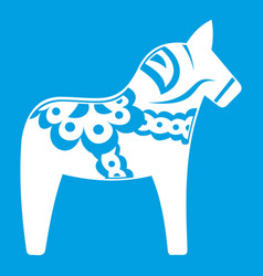 Toy horse icon white vector