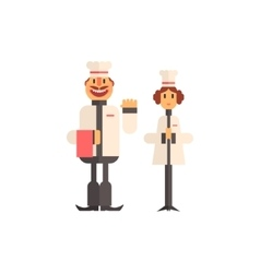 Two cooks in white uniform icon vector