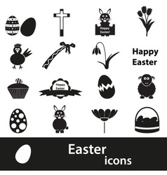 various black Easter icons set eps10 vector image vector image