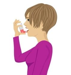 Young woman using an asthma inhaler vector
