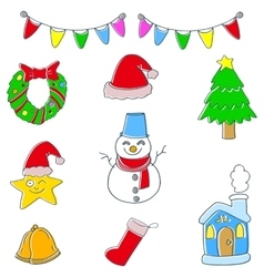 Cute christmas set of doodle vector