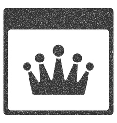 Crown calendar page grainy texture icon vector