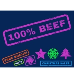 100 percent beef rubber stamp vector