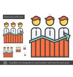 Business profit line icon vector