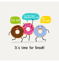 Eat sweet tasty donut poster Cute colorful glazing vector image