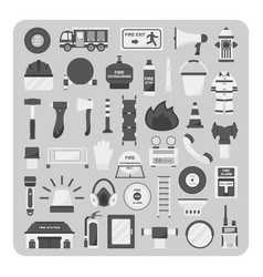 Flat icons firefighting set vector