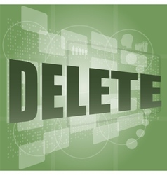 The word delete on digital screen information vector
