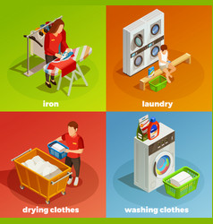 Laundry isometric dry cleaning composition vector