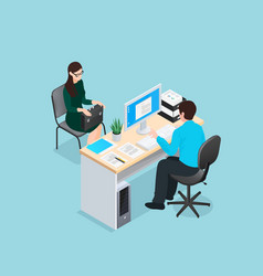 job interview isometric vector image