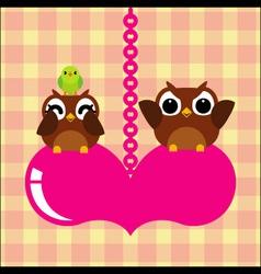 owls bird couple in love vector image