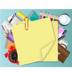 Yellow paper and school objects vector