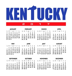 2017 Kentucky calendar vector image vector image