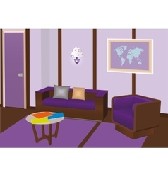 Modern interior room with violet furniture vector