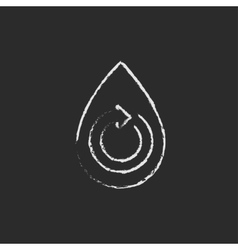 Water drop with circular arrow icon drawn in chalk vector
