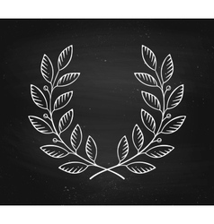 Laurel wreath icon isolated on a black chalkboard vector