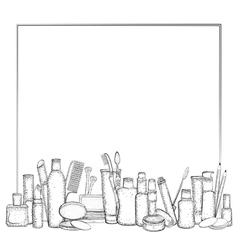 Frame with hand drawn collection products vector