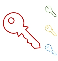 Key sign set of line icons vector