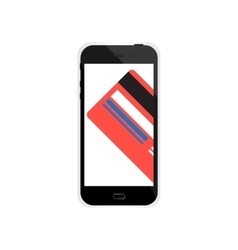Internet shopping in smartphone with credit card vector