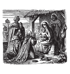 Adoration of the magi - the wise men present vector
