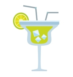Alcoholic cocktail popular bar lemon straw vector