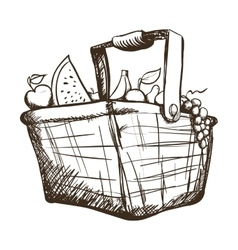 Basket with fruits and vegetables icon image vector