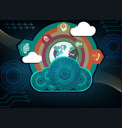 Blue background computer cloud vector
