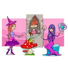 cartoon fantasy woman characters group vector image