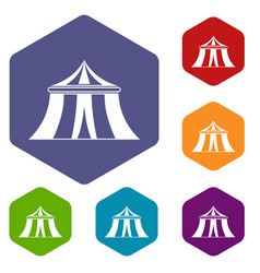 circus tent icons set vector image