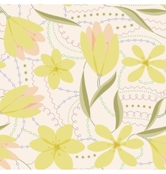 Crocuses seamless pattern yellow vintage vector image vector image