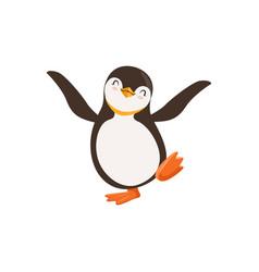 Cute happy penguin toon character dancing vector