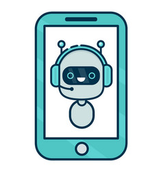 Cute smiling robot chat bot say in smartphone vector