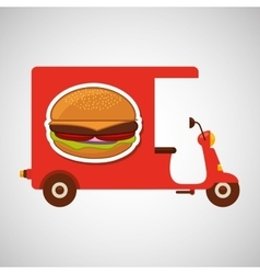 delivery motorcycle fast food burger vector image vector image
