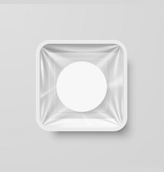 empty white plastic food square container with vector image vector image