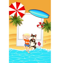 Frame design with boy and dog on beach vector